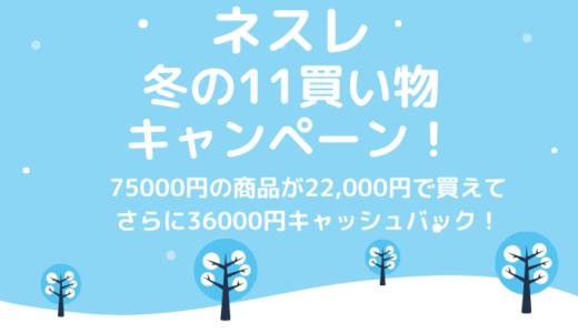 ネスレ 冬の11買い物キャンペーン!で40000pts+コーヒー75000円分もらえるチャンス